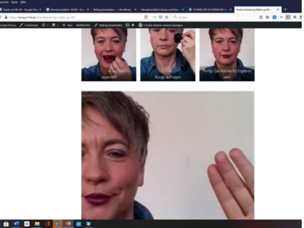 Eine Frau 40+ zeigt einzelen Make-up Schritte zum Them Make-up 40+ über Online. Monatsrückblick März und April